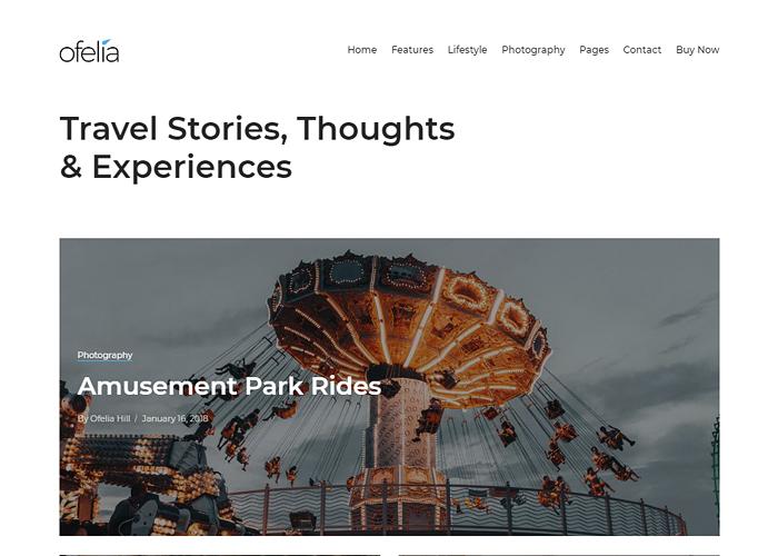 Ofelia - Travel Personal WordPress Blog Theme