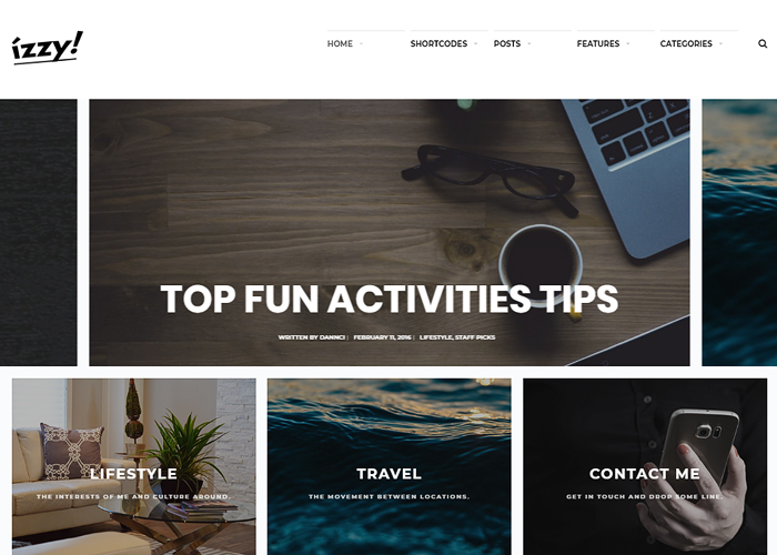 Izzy - An Unconventional Blog Theme