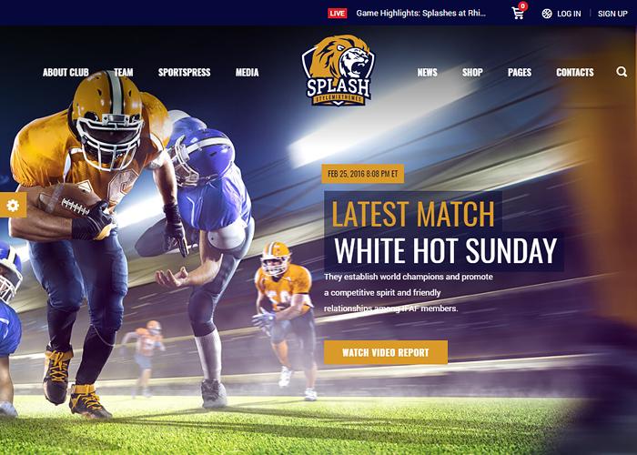 Splash - WordPress Sports Theme for Basketball, Football, Soccer and Baseball Clubs