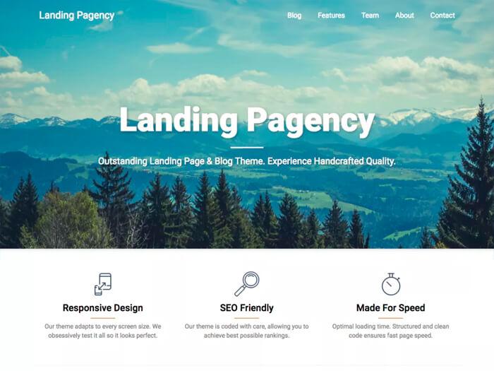 Тема Landing Pagency