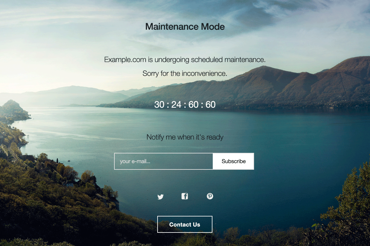 Пример заглушки сайта плагином WP Maintenance Mode