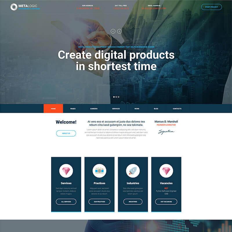 WordPress шаблон Metalogic - Software Development