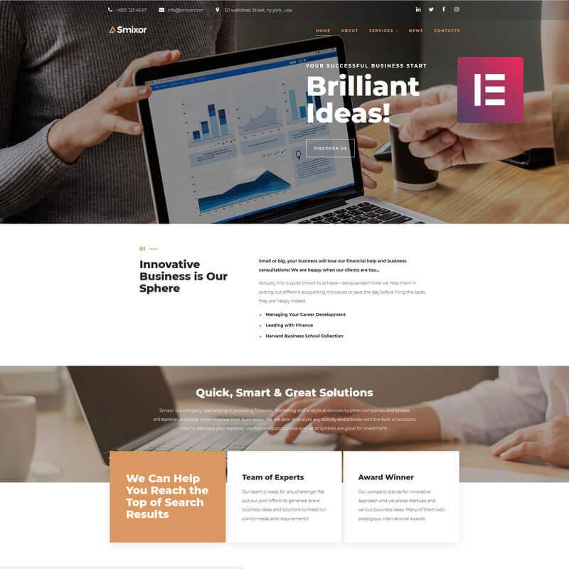 WordPress шаблон Smixor - Business Multipurpose Modern Elementor