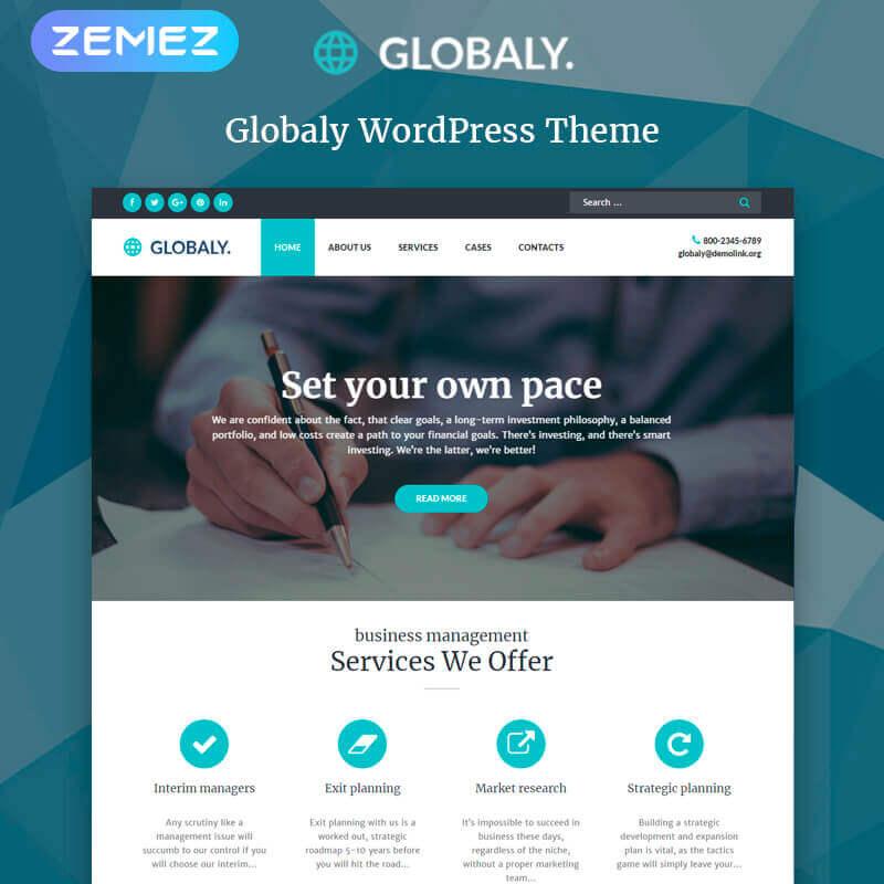 WordPress шаблон Globaly - Business Multipurpose Modern Elementor