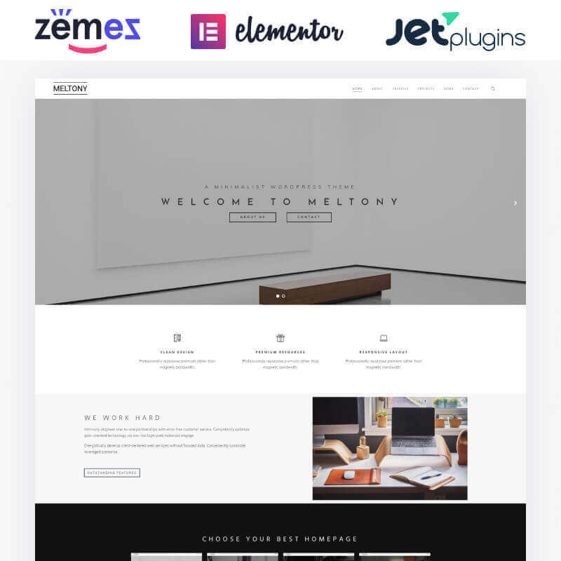 WordPress шаблон Meltony - Minimalist for Any Businesses
