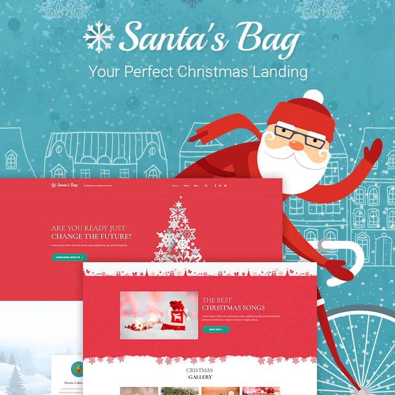WordPress шаблон Santa's Bag - Christmas Landing