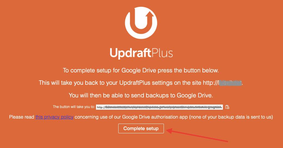 Успешная привязка плагина UpdraftPlus с Google Drive