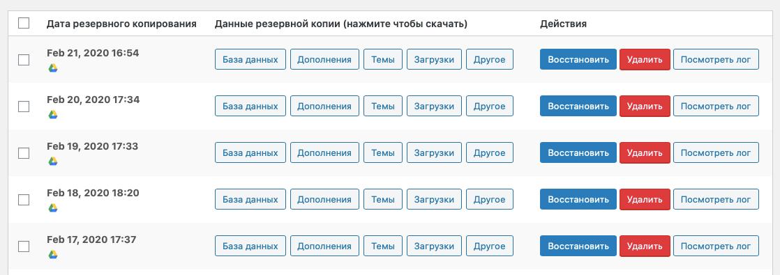 Автоматически созданные резервные копии